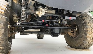 Complete replacement linkage with drag link, tie rod, stabilizer, clamp, and all hardware.